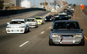 Picture Auto, Road, Machine, Grey, Nissan, Machine, Nissan, Lights, Car, 2000, A lot, Skyline, Nissan Skyline, …