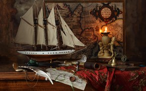 Wallpaper pen, ship, Andrey Morozov, Andrey Morozov, pipe, candle, still life, wax, model, map