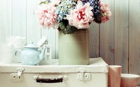 Picture flowers, bouquet, kettle, suitcase, peonies, decor