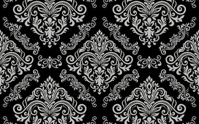 Wallpaper grey, vector, black, ornament, vintage, grey, background, pattern, element, floral, seamless