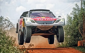 Wallpaper Auto, Sport, Machine, Speed, Race, Peugeot, Lights, Red Bull, Rally, Dakar, Dakar, SUV, Rally, Sport, ...