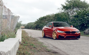 Wallpaper BMW, Orange, Front, Stance, Wheels, Velos