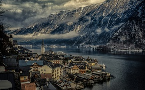 Picture mountains, lake, home, Austria, Hallstatt