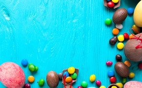 Picture sweets, colorful, holiday, background, candy, Easter, eggs, chocolate
