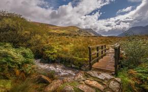 Picture mountains, stream, the bridge, Wales, Snowdonia