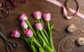 Picture flowers, table, tulips, pink, thread, ribbons, scissors, braid
