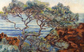 Picture landscape, picture, impressionism, Arman Hyomin, Armand Guillaumin, The red Rocks at Agay