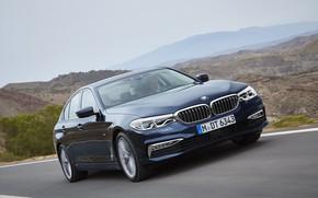 Picture road, the sky, asphalt, mountains, movement, vegetation, BMW, sedan, xDrive, 530d, Luxury Line, 5, dark …