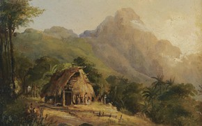 Picture mountains, picture, hut, aasai, Camille Pissarro, Camille Pissarro, Landscape in Montagne with the Cabin. Galipan