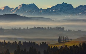Picture autumn, forest, the sky, snow, trees, mountains, fog, hills, tops, field, height, Switzerland, ate, village, …