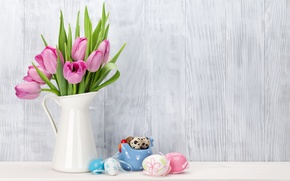 Wallpaper pink, pastel, Easter, pink, Easter, tulips, tulips, tender, Happy, spring, eggs, decoration