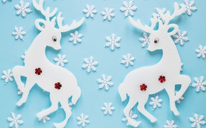 Picture texture, deer, snowflakes, blue background