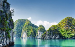 Wallpaper Nature, Sea, Rock, Rock, Vietnam, Bay, Halong Bay