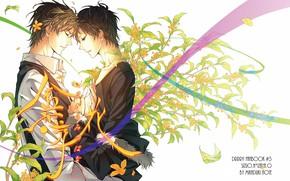 Picture leaves, flowers, romance, tape, characters, white background, guys, Heiwajima Shizuo, Durarara!!, Orihara Izaya