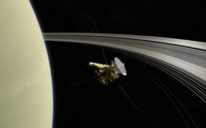 Picture space, stars, planet, Saturn, Cassini