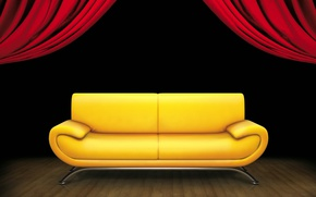 Picture background, sofa, interior, curtain
