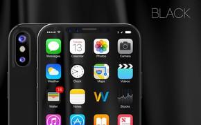Picture Apple, iPhone, black, camera, hi-tech, smartphone, technology, iPhone X