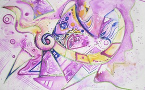 Picture purple, blue, yellow, magic, Figure, Lena Horn