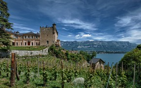 Picture the sky, mountains, lake, castle, France, sky, France, mountains, lake, houses, Bourdeau