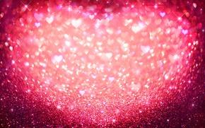 Wallpaper bokeh, hearts, hearts, love, sequins, glitter, pink