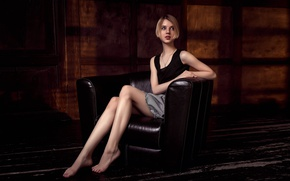 Picture girl, chair, legs, the beauty, Stepan Gladkov