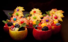 Wallpaper berries, apples, food, fruit, dessert