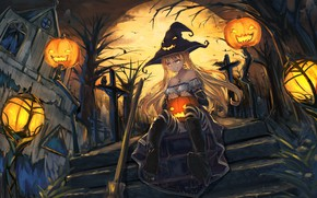 Picture girl, smile, house, the moon, hat, anime, art, ladder, pumpkin, witch, halloween, senwa