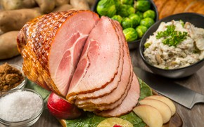 Picture meat, sauce, salad, ham, Brussels sprouts