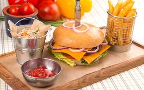 Picture vegetables, sauce, Patty, potatoes, Burger
