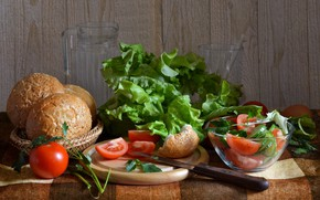 Picture food, bread, vegetables, tomatoes, salad, cutting Board