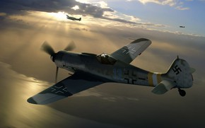 Picture painting, Air force, fighter-monoplane, WW2, Focke -Wulf, Fw.190D-9, Long-Nose Dora