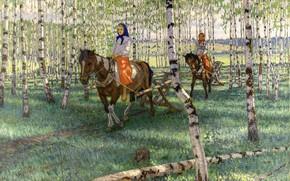 Wallpaper forest, girls, birch, Bogdanov-Belsky, To work, Riga, 1921, horse