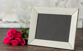 Picture roses, bouquet, frame, wood, pink, flowers, roses, pink roses