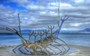 Picture monument, sculpture, promenade, Iceland, Iceland, Reykjavik, Reykjavik, sun wanderer, Sun Travel