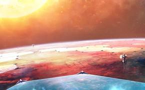 Picture future, fantasy, Space, science fiction, stars, sun, sci-fi, planet, digital art, spaceships, artwork, shield, fantasy …
