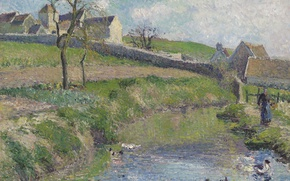 Picture landscape, picture, Camille Pissarro, Farm Fritsche in They