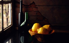 Picture bottle, still life, lemons, Lemons