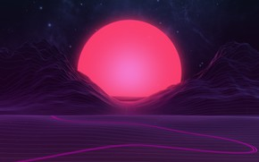 Picture Graphics, Neon, Mountains, The sun, Stars, Space, Light, Music, Synth-pop, Sinti, Synth, Synthpop