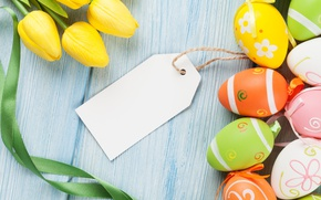 Picture colorful, Easter, tulips, yellow, tulips, spring, eggs, Happy Easter, Easter eggs
