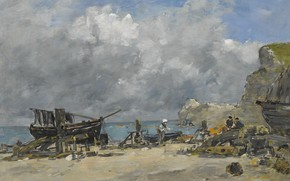 Picture landscape, picture, Eugene Boudin, Eugene Boudin, Étretat. Boats and Fishermen on the Beach