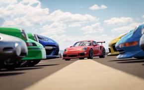Wallpaper car, Porsche, game, sky, cloud, race, speed, Forza Horizon, kumo, Forza Horizon 3