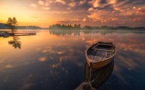 Wallpaper trees, lake, reflection, sunrise, dawn, boat, calm, morning, Norway, Norway, RINGERIKE, Ringerike