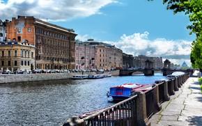 Picture summer, the sun, glare, river, boats, promenade, Fontanka, St. Petersburg, Lomonosov bridge, Parsadanov