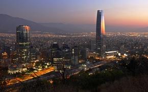 Wallpaper Santiago, Titanium La Portada, Gran Torre Santiago, Torre Gran Costanera, mountains, Chile, twilight, The Costanera ...