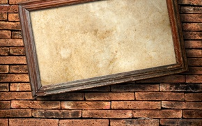 Picture wall, bricks, hanging, frame