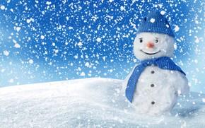 Wallpaper winter, smile, snowman, happy, winter, snow, snow, snowman