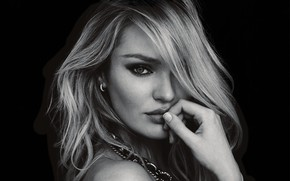 Picture look, eyes, model, portrait, black and white, Candice Swanepoel