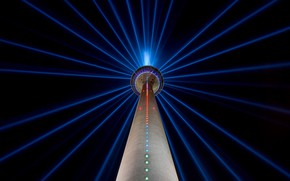 Picture night, the city, lights, tower, Germany, Dusseldorf, The Rhine tower