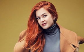 Picture background, makeup, hairstyle, red, beautiful, coat, Isla Fisher, Isla Fisher, Glamour, Rachell Smith, actress.portrait