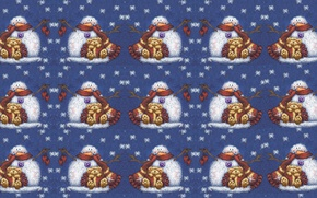Wallpaper winter, snowflakes, mood, toy, tale, texture, carrot, art, bear, New year, snowman, scarf, children's